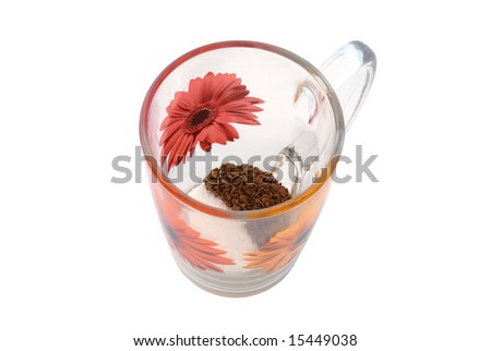 instant coffee and sugar in glass cup