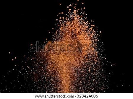 Instant coffee explosion - stock photo