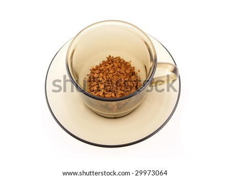 Instant coffee in glass cup isolated