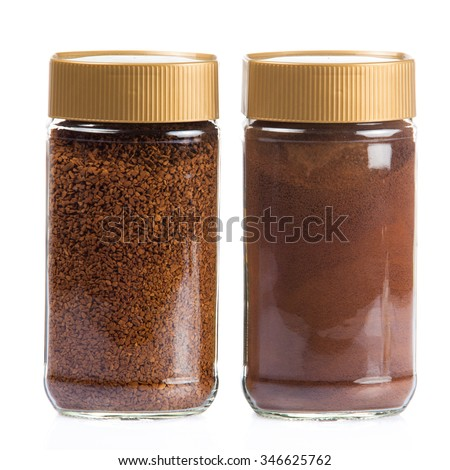 Instant coffee jar isolated on white background.  Instant coffee bottle. Coffee Glass Jar Packaging Package