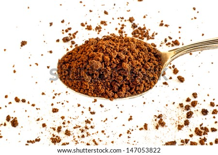Instant coffee powder - stock photo