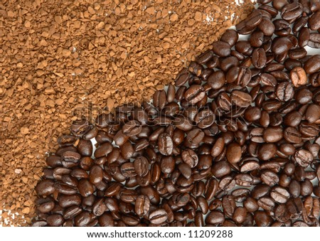 instant coffee powder and grain - stock photo