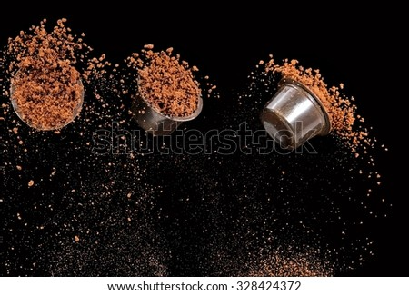 Instant coffee up from three capsules - stock photo