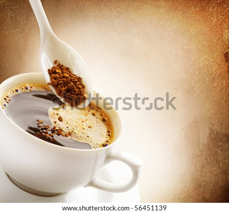 Instant Coffee.Vintage Styled - stock photo