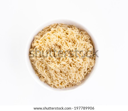 Instant noodle in a white bowl isolated on white background