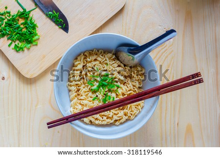 instant noodle tasty on Wooden background  - stock photo