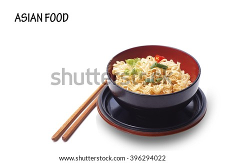Instant noodles in bowl isolated on white background  - stock photo