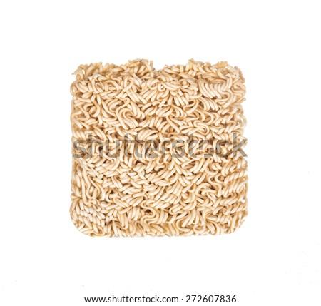 Instant noodles (Ramen Noodles) on white background. - stock photo