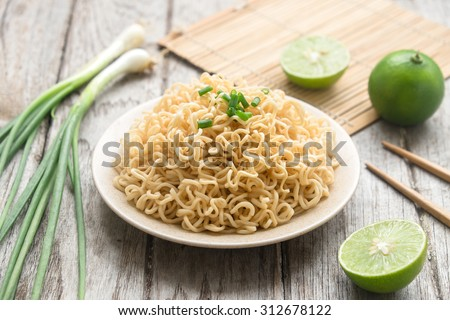 Instant noodles with Side dish - stock photo