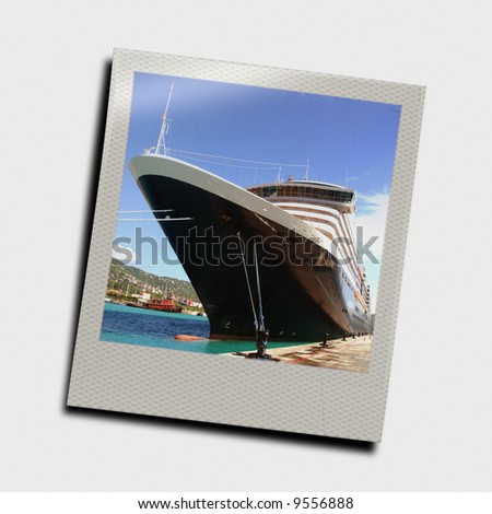 instant photo frame of cruise ship - stock photo