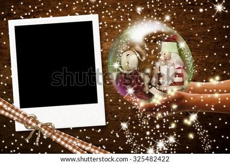 Instant photo frame, vintage style Christmas greeting - stock photo
