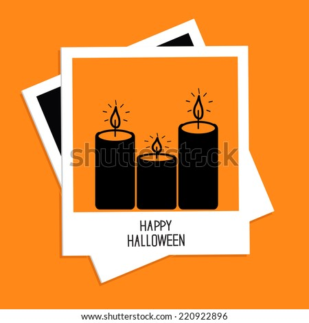 Instant photo with candle set. Happy Halloween card. Flat design.  - stock photo