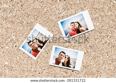 Instant Photos Of Young Couple On The Beach
