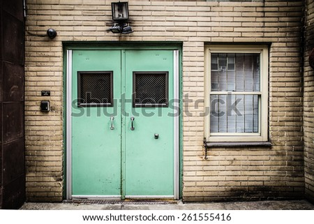 Institutional facility doors  on building exterior - stock photo