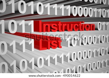 Instruction List in the form of binary code, 3D illustration