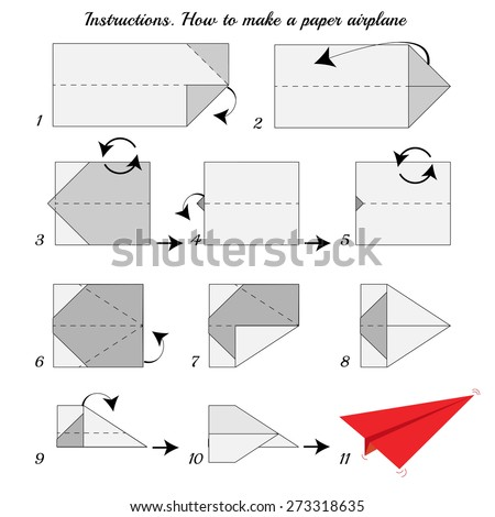 Instructions How Make Paper Airplane Paper Stock Illustration