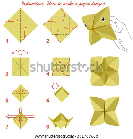Instructions How To Make Paper Dragon Animal Tutorial Step By Educational