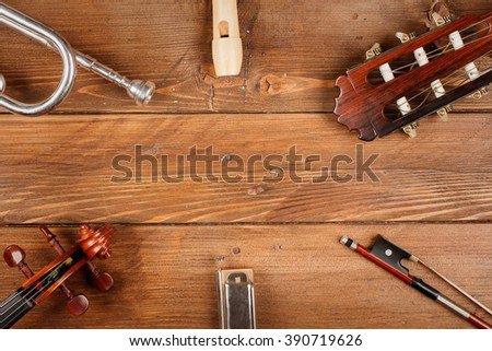 instruments in wood background - stock photo