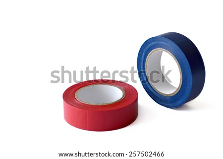 Insulating tape rolls isolated on white background - stock photo