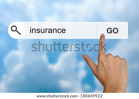 insurance button on search toolbar - stock photo