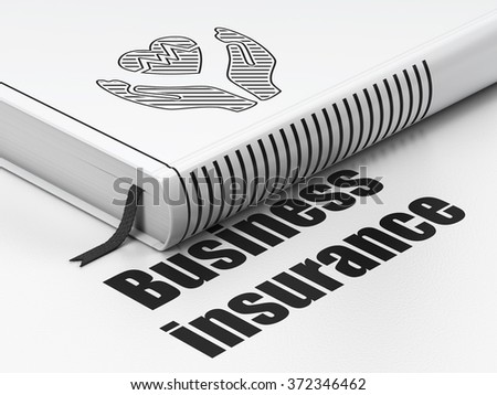 Insurance concept: book Heart And Palm, Business Insurance on white background