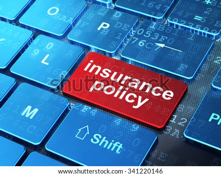 Insurance concept: computer keyboard with word Insurance Policy on enter button background, 3d render - stock photo