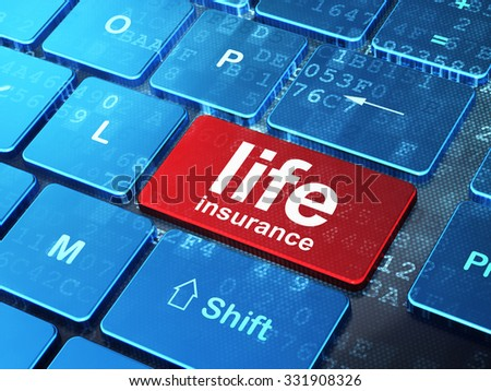 Insurance concept: computer keyboard with word Life Insurance on enter button background, 3d render
