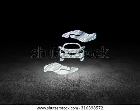Insurance concept: Glowing Car And Palm icon in grunge dark room with Dirty Floor, black background - stock photo