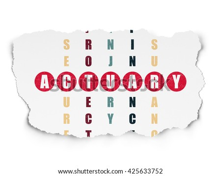 Insurance concept: Painted red word Actuary in solving Crossword Puzzle on Torn Paper background - stock photo