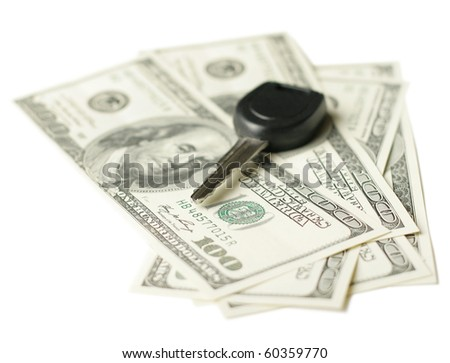 insurance concept us dollars and car keys isolated on white background, selective focus - stock photo