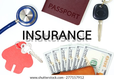 Insurance concept with money and many types of insurance - stock photo