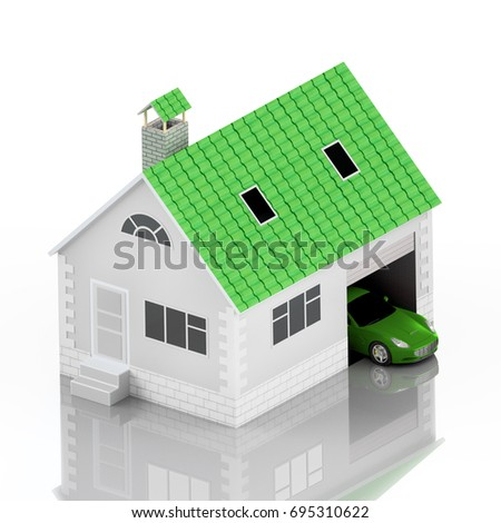 Insurance Home, House With Green Roof, Life, Car Protection. Buying House  And