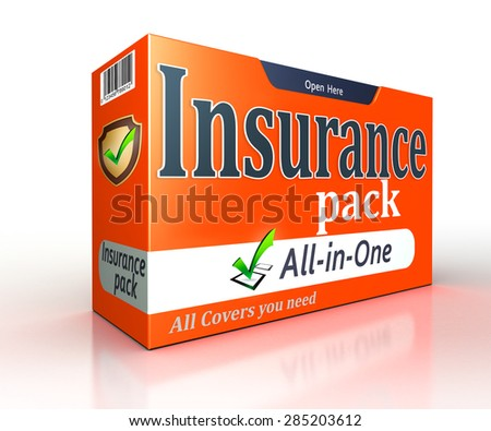 Insurance orange pack concept on white background. clipping path included  - stock photo