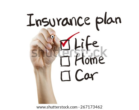 insurance plan checklist checking by hand over white background