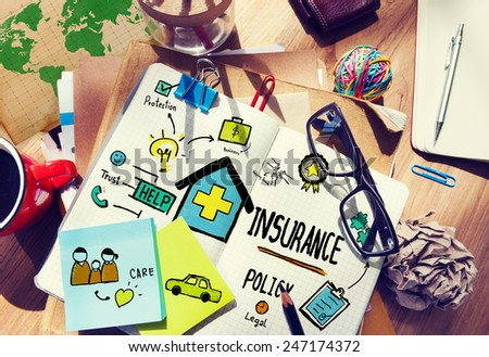Insurance Policy Management Contemporary Drawing Concept - stock photo