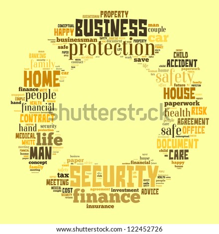 Insurance Protection word clouds in life buoy shape isolated in white background - stock photo