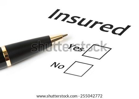 Insured yes/no. insurance or risk business concept - stock photo