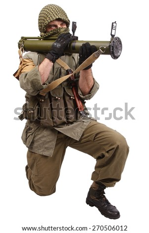 insurgent wearing keffiyeh  with anti-tank rocket launcher isolated on white - stock photo