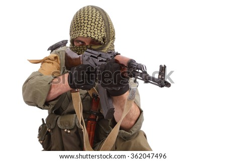 insurgent with AK 47 - stock photo
