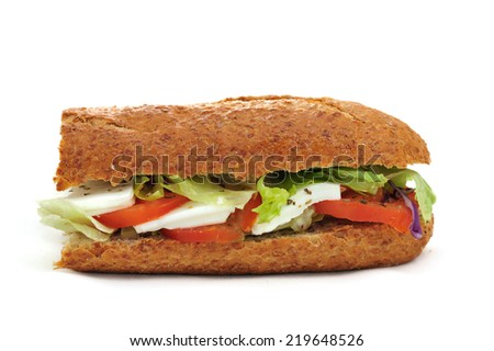 Integral baguette with tomato and mozzarella, lettuce and onion - stock photo