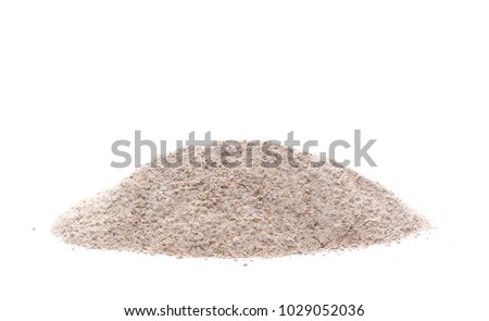 Integral rye flour pile isolated on white background