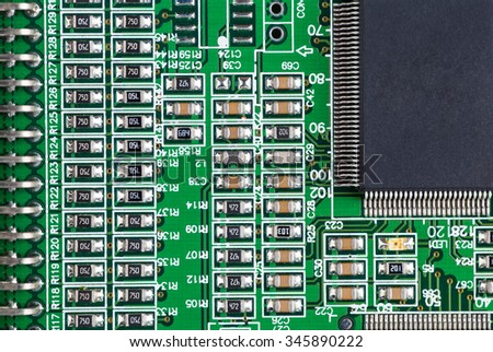 Integrated Circuit Board of a Hard Disk - stock photo