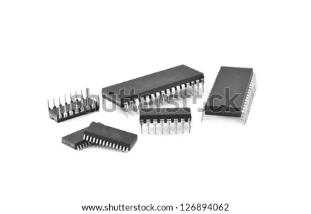 Integrated circuit isolate on white background