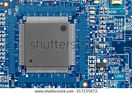 Integrated circuit on the motherboard PCB computer. - stock photo