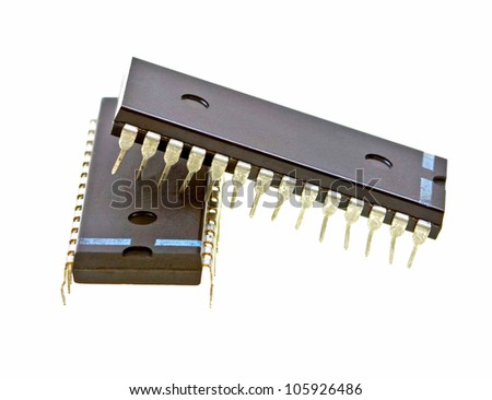 Integrated circuits isolated on white background