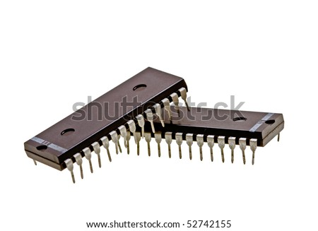 Integrated circuits isolated on white background - stock photo