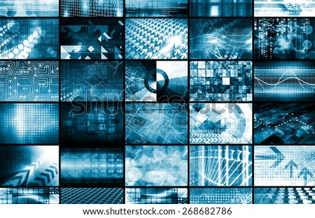Integrated Management System and Technology Network as Art - stock photo