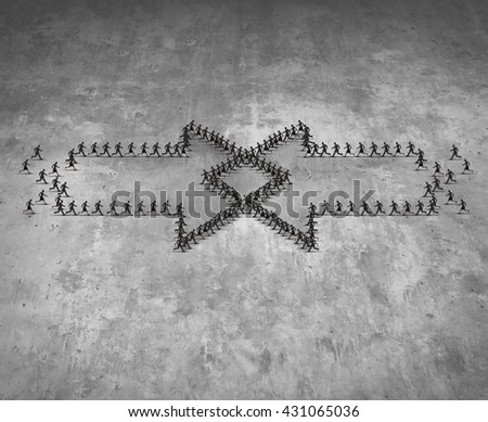 Integration concept as two groups of running people shaped as an arrow integrating together as a business metaphor for combining teams together for group success in a 3D illustration style. - stock photo