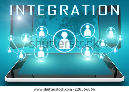 Integration - text illustration with social icons and tablet computer and mobile cellphones on cyan digital world map background - stock photo