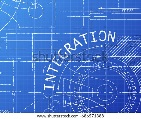 Integration text gear wheels hand drawn stock illustration integration text with gear wheels hand drawn on blueprint technical drawing background malvernweather Image collections